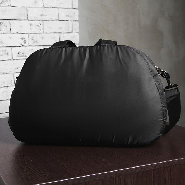 """Сумка спортивная на молнии """"Фитнес"""", 1 отдел, наружный карман, регулируемый ремень, цвет чёрный/коричневый"""