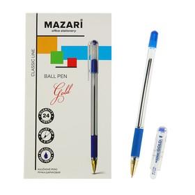 Ручка шариковая GOLD, пишущий узел 0.5 мм, чернила синие, с резиновым упором