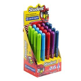 Школьная перьевая ручка, Centropen Student 2156, 0,3 мм, 2 запасных картриджа, синяя, в дисплее