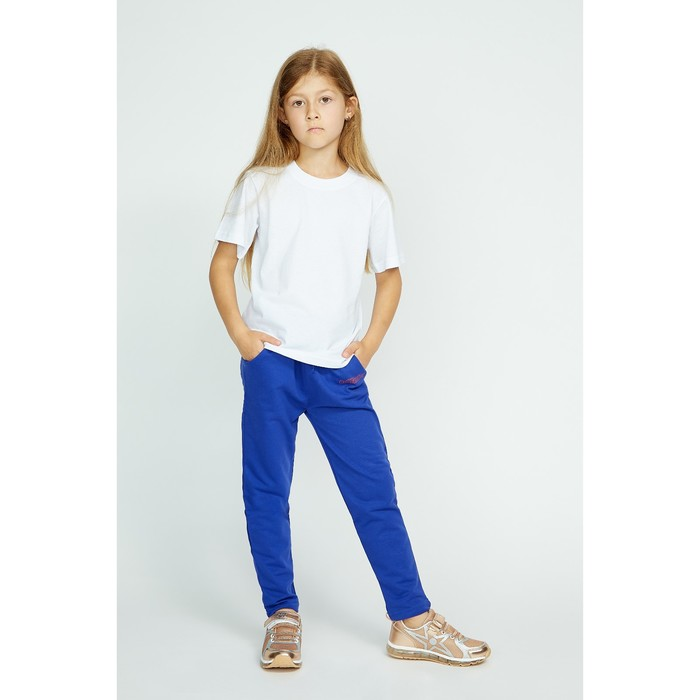 Брюки спортивные для девочки, рост 128 см, цвет синий Fwg-23-1