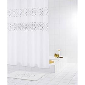 Штора для ванной комнаты Paillette, цвет серый /серебряный 180х200 см