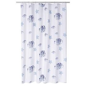 Штора для ванной комнаты Skalar, цвет синий/голубой 180х200 см