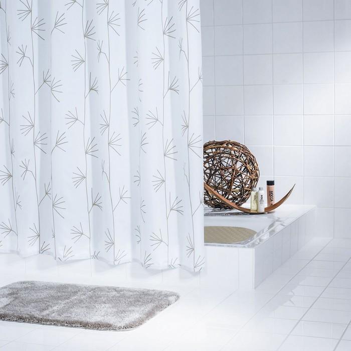 Штора для ванной комнаты Yucca, цвет белый 180х200 см
