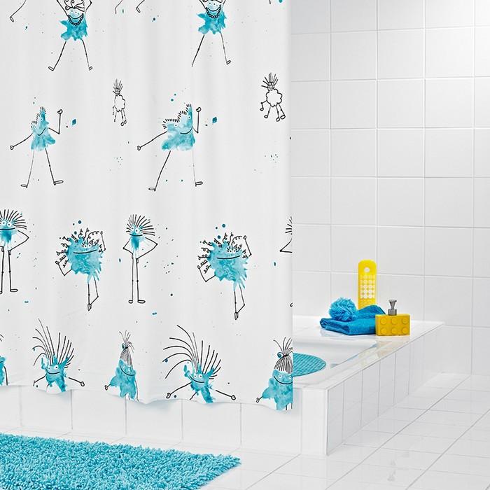 Штора для ванной комнаты Bazillus, цвет синий/голубой 180х200 см