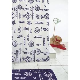Штора для ванной комнаты Neptun, цвет синий/голубой 180х200 см