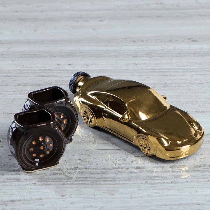 """Коньячный набор """"Суперкар"""" 3 предмета, золото, 0,2 л"""
