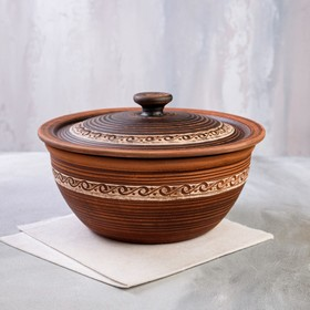 Casserole, engobe, decor, 4 L