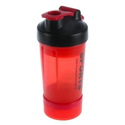 Шейкер 450 мл Sports, с шариком и отсеками, с поильником, матовый, красный, 11х26.5 см