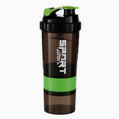 Шейкер 500 мл, с пружинкой, запирающаяся петля, с отсеками, зелёный, 11х26.5 см