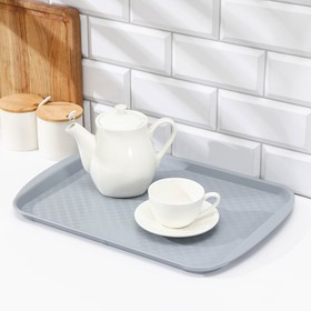 Rectangular tray 42 × 30 cm, color gray.
