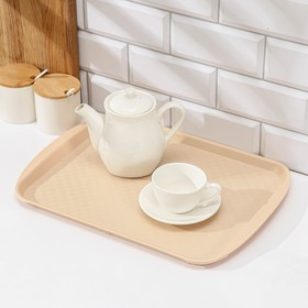 Rectangular tray 42 × 30 cm, beige color.