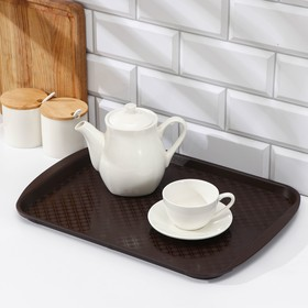 Rectangular tray 42 × 30 cm, color brown.