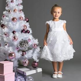 Нарядное платье для девочки, рост 104 (56) см, цвет белый 8135