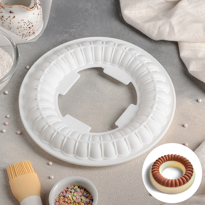 """Форма для муссовых десертов и выпечки 23,5×3,5 см """"Начинка. Рулет"""", цвет белый"""