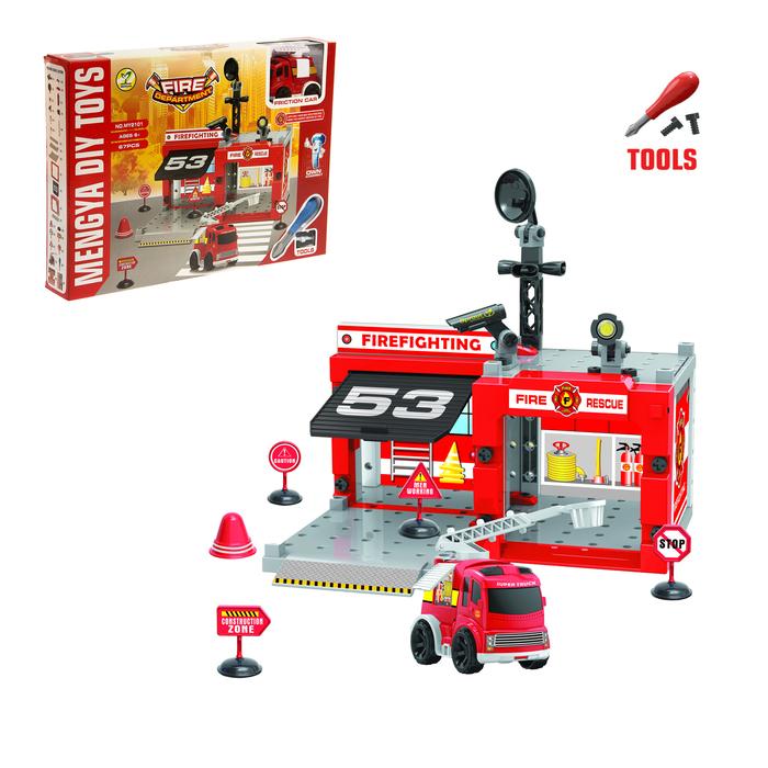 """Парковка - конструктор """"Пожарная станция"""", с отверткой, 1 машина"""