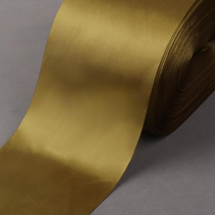 Лента атласная, 100 мм × 100 ± 5 м, цвет оливковый
