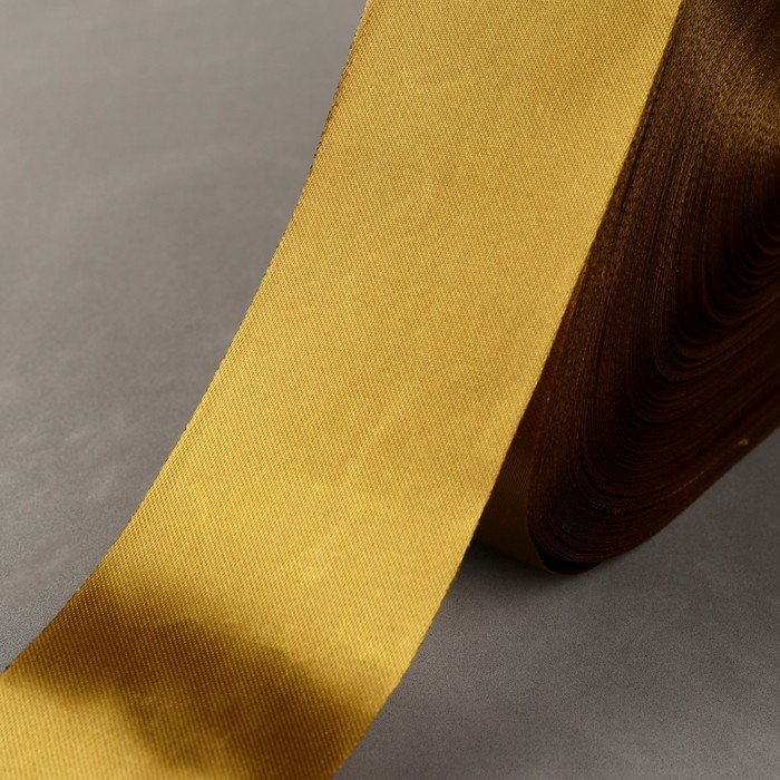 Лента атласная, 50 мм, 100±1 м, цвет бронзовый
