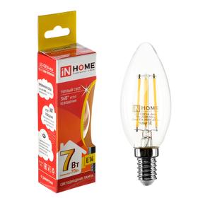 Лампа светодиодная IN HOME, Е14, С37, 7 Вт, 630 Лм, 3000 К, теплый белый, прозрачная