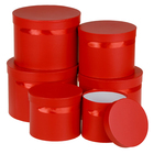 Набор коробок 6в1, круглые, красные, однотонные, 28 х 28 х 20 - 17 х 17 х 15 см