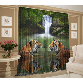 Тюль «Тигры у водопада» 147х267 +/- 3см, 2шт, шифон