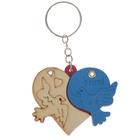 """Брелок дерево медальон раздвижной """"Голуби на сердце"""" МИКС 5х6,5 см"""