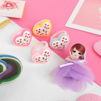 """Children set """"Vibracula"""" 5 items: brooch, 4 rings, snow white, MIX color"""