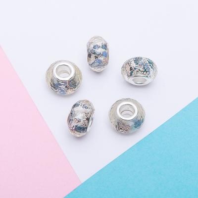 """Бусинка """"Незабудки"""", цвет бело-синий в серебре"""