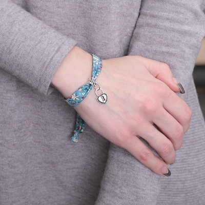 "Bracelet Assorti ""Love"" lock, color blue black silver"