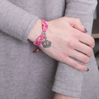 """Браслет ассорти """"Любовь"""" корона, цвет розовый в чернёном серебре"""