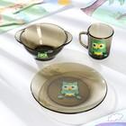 """Набор для завтрака """"Совы"""" Ca del vetro, 3 предмета: кружка 250 мл, бульонница 510 мл, тарелка"""
