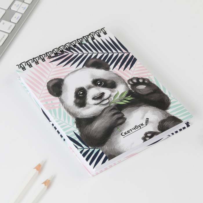 """Скетчбук на гребне """"Панда"""", твёрдая обложка, А6, 80 листов - фото 502478462"""