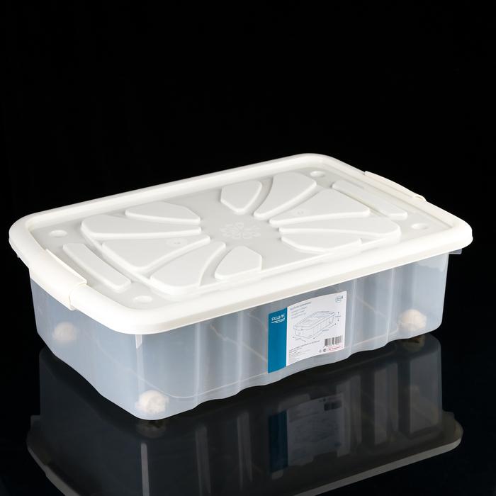 Контейнер для хранения с крышкой Полимербыт, на колёсиках, 60×40×17 см, цвет МИКС - фото 308334939