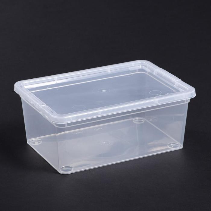 Короб для хранения с крышкой, 3,5 л, 26×18×10,5 см, цвет прозрачный - фото 308334947