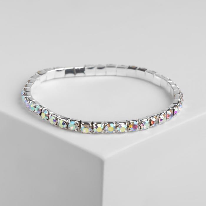 """Браслет со стразами """"Лёд"""" 1 ряд, цвет радужный в серебре, 4 мм"""