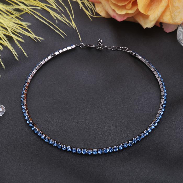 """Колье """"Лёд"""", 1 ряд, цвет синий в сером металле"""