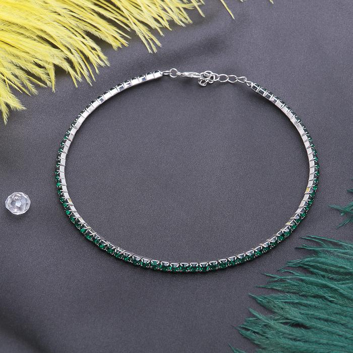 """Колье """"Лёд"""", 1 ряд, цвет зелёный в серебре"""