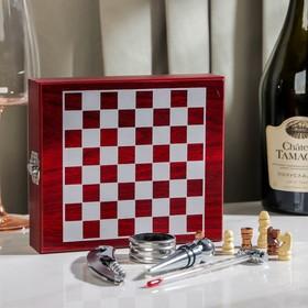 Набор для вина, 4 предмета: термометр, кольцо, открывашка, пробка, шахматы в комплекте