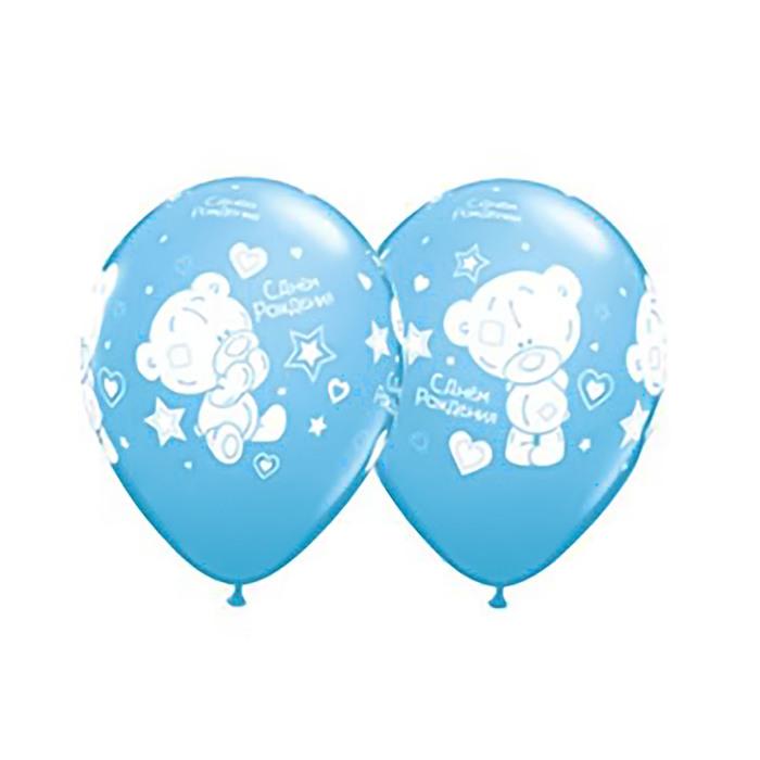 """Шар латексный 11"""" Me To You """"С днём рождения!"""", малыш, набор 25 шт., цвет голубой"""