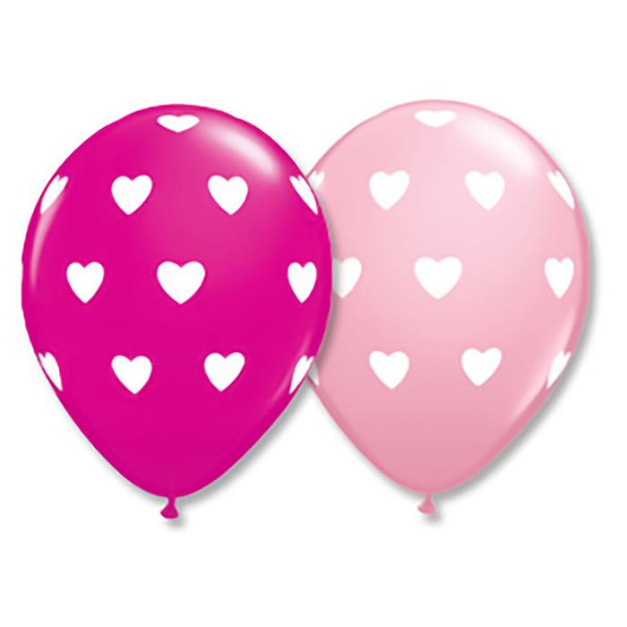 """Шар латексный 11"""" """"Сердца большие"""", набор 25 шт., цвет розовый - фото 152551466"""