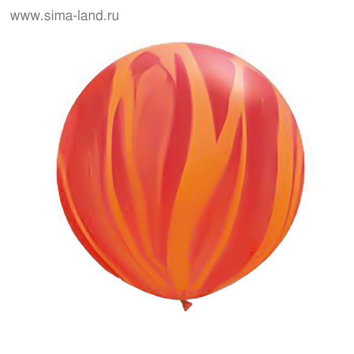 """Шар латексный  30"""" """"Супер Агат"""", красный/оранжевый  Q"""