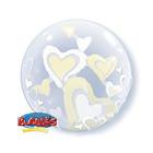 """Шар полимерный 22"""" BUBBLE Инсайдер """"Парящие сердца"""", шар в шаре, айвори - фото 283947803"""