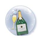 """Шар полимерный 22"""" """"BUBBLE  Инсайдер шампанское и бокал"""" шар в шаре, 2 шт Q"""