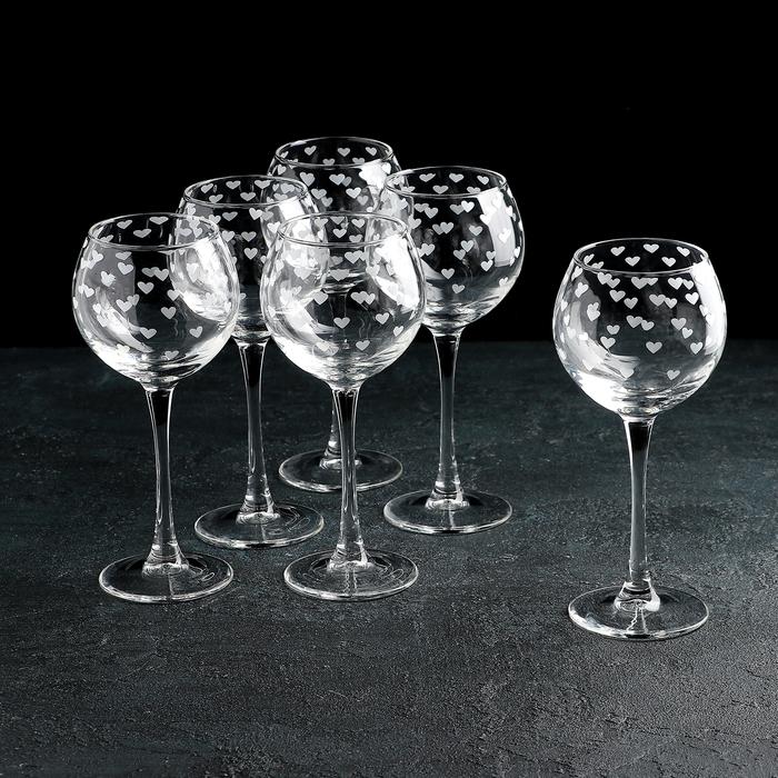 """Набор бокалов для вина 280 мл """"Сердечки. Серебро"""", 6 шт"""