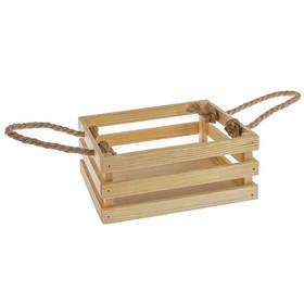 """Кашпо деревянное 20×16×8 см """"Щедрость"""" реечное, ручка верёвка, натуральный Дарим Красиво"""