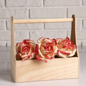 Кашпо деревянное 25×12×24 см Стелла Моно, с ручкой, натуральный Дарим Красиво