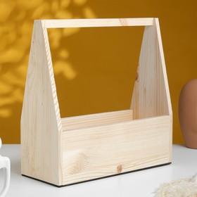 """Кашпо деревянное 30×14×30 см """"Таёжный"""", с ручкой, натуральный Дарим Красиво"""