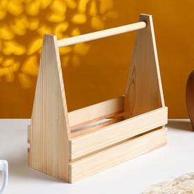 """Кашпо деревянное 30×14×30 см """"Таёжный"""", двухреечное, с ручкой, натуральный Дарим Красиво"""