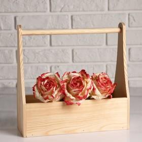 """Кашпо деревянное 30×14×30 см """"Таёжный дух"""", для цветов и инструментов, ручка Дарим Красиво"""