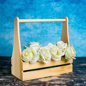 """Кашпо деревянное 30×14×30 см """"Таёжный дух"""", двухреечное, с ручкой, натуральный Дарим Красиво"""