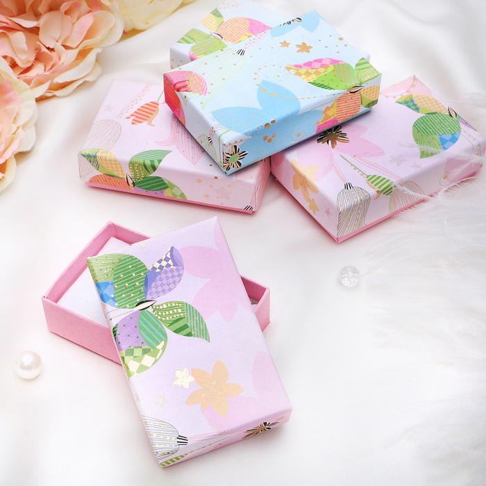 """Коробочка подарочная под набор """"Бабочка в тюльпанах"""", 5*8, цвет МИКС, вставка белая"""